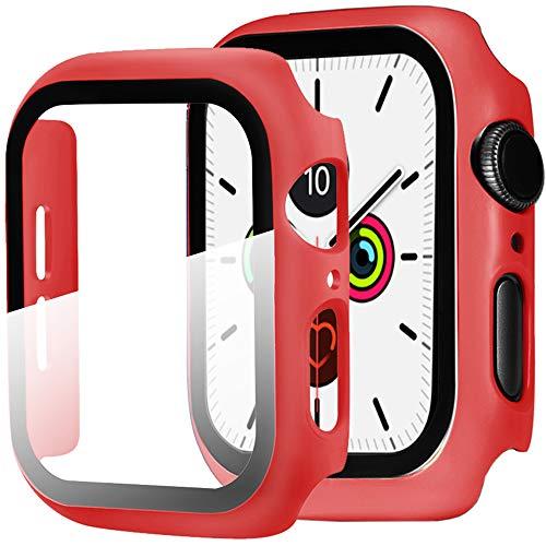 Miimall Funda Compatible con Apple Watch Series 6/5/4/SE 44mm Carcasa Protector Cristal,2 en 1 PC Case Vidrio Templado Alta Sensibilidad Protector Pantalla para iWatch Series 6/5/4/SE 44mm - Rojo