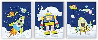 HLNIUC Cartoon Rocket Space Art Poster 3 Piece Set (10