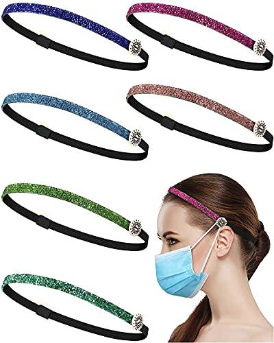 Monnstar 6 diademas con botones, fina y brillante, banda elástica antideslizante para la cabeza (3 patrones elegantes).