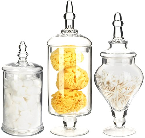 Mantello Decor Glass Apothecary Jars (Clear, Medium Large, Set of 3) Decorative Weddings Candy Buffet