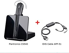 Plantronics-CS540 Convertible Wireless Headset with EHS Cable APP-51, Bundle for Polycom Phone Systems