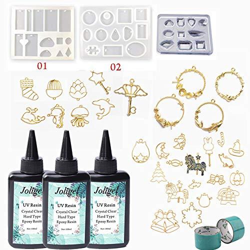 300ml Crystal Clear UV Epoxy hars met 30 open achterkant randen + 3 siliconen vormen met 35 vormen voor sieraden maken met 2 tapes | DIY hangers kettingen Drop oorbellen sleutelhangers broches met hars