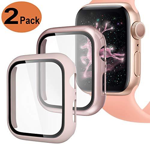 Upeak Compatible con Apple Watch Series 4/5 40mm Funda con Vidrio Templado, 2 Piezas Caja Protectora para Mujeres Hombres Compatible con iWatch 4 5, Brillante Oro Rosa/Mate Rosa