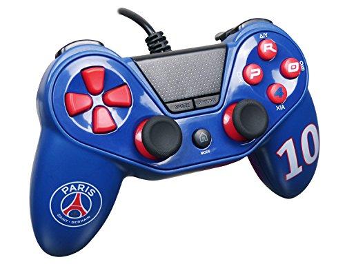 Subsonic Manette Pro4 Paris Saint Germain pour PS4 - PS3 - PC - Manette pour Playstation 4 - PS4 Slim - PS4 Pro - Playstation 3 - PC - PSG Numéro 10 Neymar