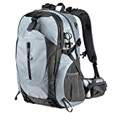 FENGDONG 40L Waterproof Lightweight Outdoor Daypack Hiking,Camping,Travel Backpack for Men Women Grey