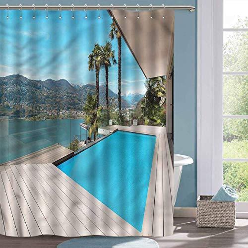 Tenda da doccia Divertente Holiday Patio con Piscina Tenda da Vasca impermeabile in Legno