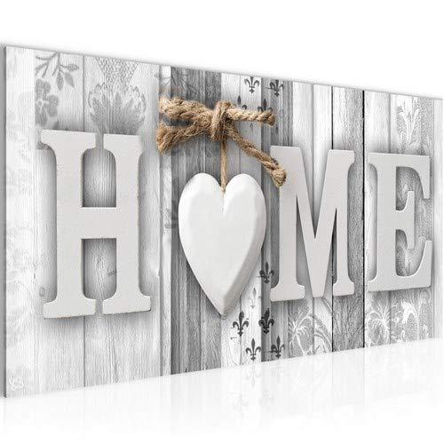 Bilder Home Holz Bretter Wandbild 100 x 40 cm Vlies - Leinwand Bild XXL Format Wandbilder Wohnzimmer Wohnung Deko Kunstdrucke Weiß 1 Teilig - Made IN Germany - Fertig zum Aufhängen 503312c