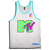 MTV 90S Classic Shows Tank - Mens Iconic Mesh Tank Basketball Jersey (White, Large)