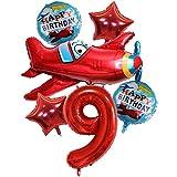 DIWULI, Juego de globos grandes para avión, tamaño XXL, con número 9 números, color rojo, estrella con el texto Happy Birthday, globos de 9 cumpleaños infantiles, decoración de aviones
