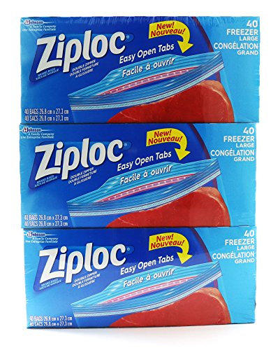 Ziploc Freezer Bags with Easy Open Tabs - 3 x 40 Large Bags (26.8 x 27.3 cm)