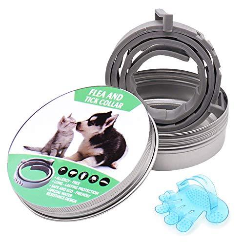 GVOO Collares Antipulgas y Garrapatas,Collar Antiparasitos Perros Gatos,Collar Anti Mosquitos Tamaño Ajustable para Cualquiera Mascota 240 Días de Protección Longitud 62cm