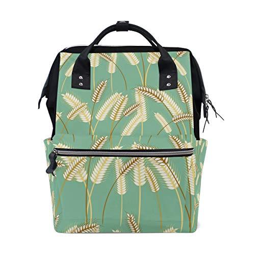 Pflanzen-Gerstengras-Rucksack Windeltasche für Mutter Frauen Baby Wickeltasche Reiserucksack groß Schule Laptop Wandern Tasche Outdoor