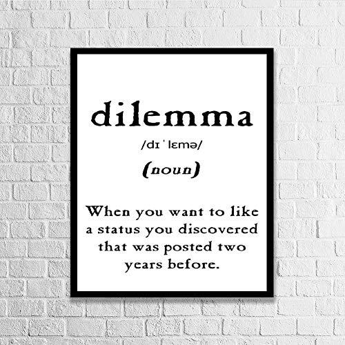 """DKISEE Dilemma Definition Cadre en bois Décoration murale, Bois dense, coloré, 7.8"""" x 11.8"""""""