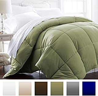 Beckham Hotel Collection 1600 Series - Lightweight - Luxury Goose Down Alternative Comforter - Hotel Quality Comforter and Hypoallergenic - Full/Queen - Olive