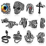 otutun anelli punk vintage, 12 pezzi anello punk anello regolabile in acciaio inossidabile polpo drago serpente anello anelli gotico drago anelli regolabili aperti per donna e uomo