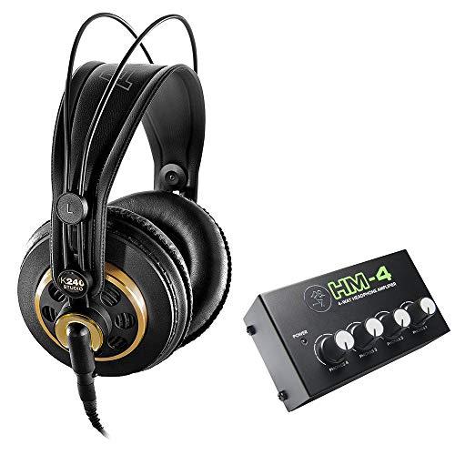 AKG K 240 Studio Pro Semi-Open Stereo Headphones with Mackie HM-4 Headphones Amplifier