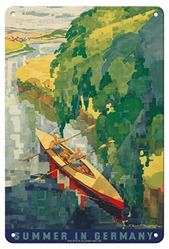 Pacifica Island Art - 22 x 30 cm Metallschild - Sommer in Deutschland - Kajak Fahren - Retro Reise Plakat von Werner von Axster-Heudtlass c.1930s