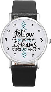 Colorido Girls Follow Your Dream Print Faux Leather Band Quartz Wrist Watch