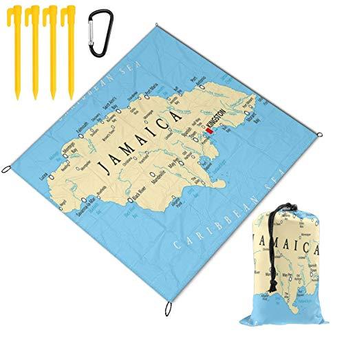 NOLYXICI Plegable Manta de Picnic 145x150cm,Mapa de Jamaica