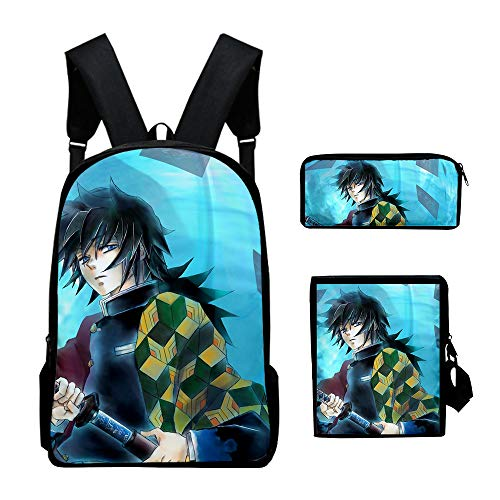 JIJUEMIU Unisex Demon Slayer Kimetsu no Yaiba Backpack +Crossbody Bag+Pencil Case Three-Piece School Book Bag Large Capacity Travel Camping Daypack Rucksack Bag