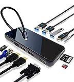MSRI Hub USB-C 12 en 1 Triple Display – Doble HDMI 4K – VGA – Sistemas Windows, Mac y dispositivos con puerto USB-C Thunderbolt 3 – Puerto RJ45-3 puertos USB 3.0 – Audio 3.5 mm