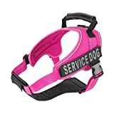 Service Dog Vest Harness - Military Grade Assistance Dog Harness with Removable Reflective Patches - Comfortable & Safe - Handle for Maximum Training, Walking Control - Free ADA eBook (M, Pink)