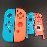 Carcasa completa con carcasa frontal y carcasa con marco medio de batería para mando de Nintendo Switch, placa frontal Joy-Con (azul izquierdo, rojo derecho)