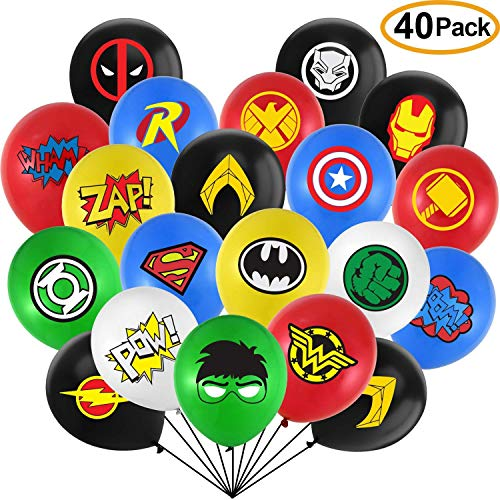 EPCHOO Superheld Luftballons, Mehrfarbig Latex Luftballons mit Comic-Bilder und Slogans Luftballons Superhelden Party Favors für Kinder Geburtstagsfeierzubehör Party Dekorationen