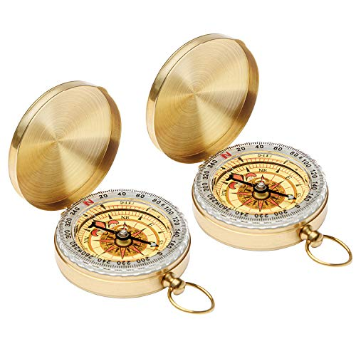Qi Mei Camping Survival Compass Metal Pocket Compass Kids Compass for Hiking Camping Hunting Outdoor Military Navigation Tool(2pcs)