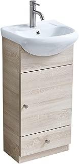 """COTULIN Bathroom Vanity, Modern 17.7"""" Grey Grain Upright Bathroom Vanity,1- Drawer Bathroom Cabinet with Ceramic Vessel Sink"""