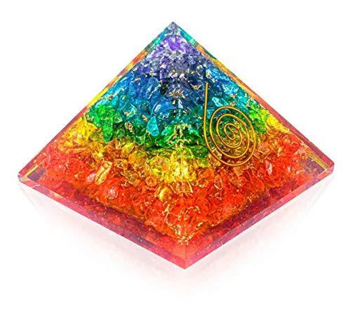 Pura Esprit Orgone Pyramid – Emf Protection Rainbow Pyramid Orgone Energy Generator 7Chakra Stones Healing Crystals Orgonite Pyramid for – Meditation Reiki Inner Healing Love Motivation Courage Kit