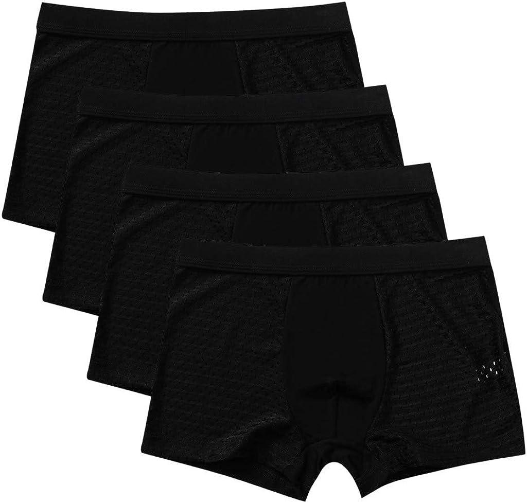 MODOQO 4Pack Men's Underwear Boxer Briefs Long Ultra Soft Regular Fit Comfortable Underpants Trunks
