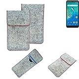 K-S-Trade® Handy Schutz Hülle Für General Mobile GM 8 Go Schutzhülle Handyhülle Filztasche Pouch Tasche Hülle Sleeve Filzhülle Hellgrau Roter Rand