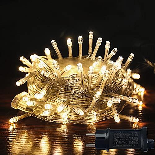 Guirlande Lumineuse 100LEDs 12M Guirlande Intérieur Extérieur Fairy Lights Connectée Avec Prise Décoration Anniversaire Hamac Mariage Maison Fête Tente