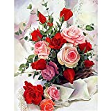 5D DIY Pintura Diamante Diamond Painting Kit Completo Pintar por Números Flores Color de Rosa Cuadros de Diamantes en Punto de Cruz con Diamantes Manualidades Adultos Decoración de la Pared del Hogar