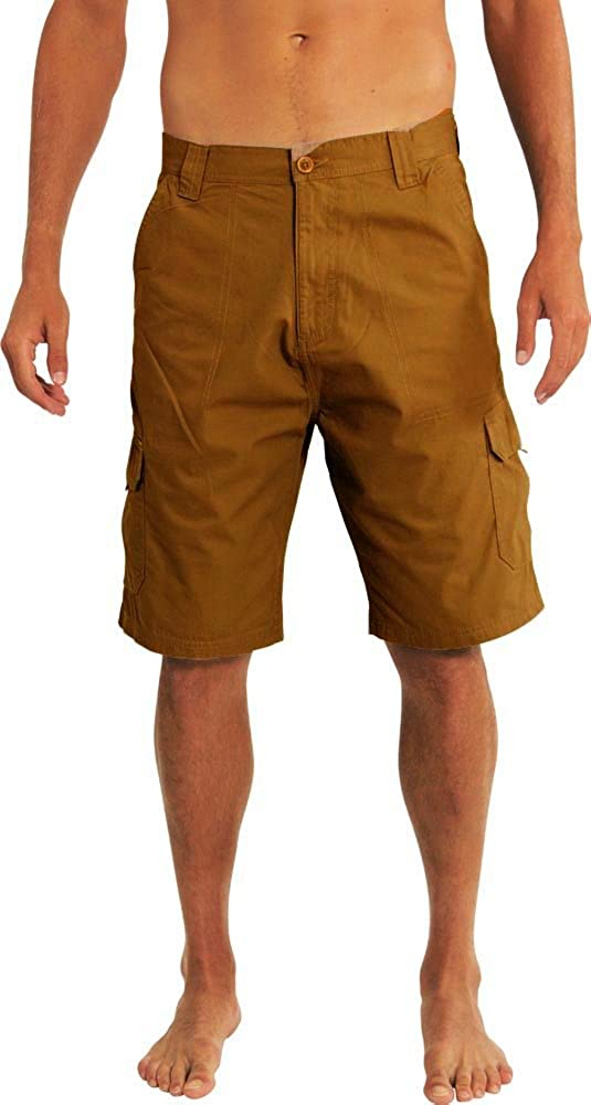 NORTY Mens Premium Cargo Shorts - 100% Cotton Twill or Ripstop Fabric - 10-inch Inseam - 7 Colors