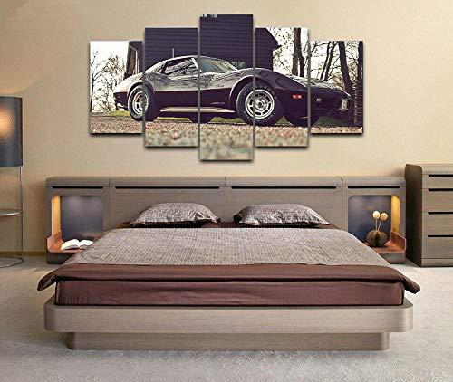 5 Panel Impresión en Lienzo Chevrolcar Corvette Stingray C3 Coche 5 Cuadros Modernos Impresión de Imagen Artística Digitalizada   Lienzo Decorativo para Salón o Dormitorio