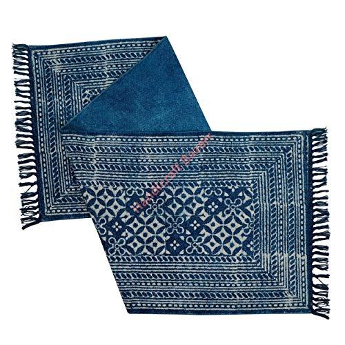 Handicraft Bazarr Indigo Batik-Baumwollläufer im Vintage-Stil, große Flächenteppich-Set, 5,1 x 1,8 m, geknotete Teppiche, Baumwolle, Pooja-Matte, Yoga-Dhurrie-Gebetsteppiche