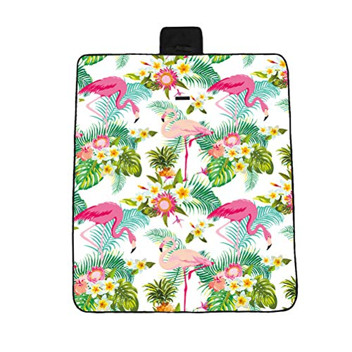 BESPORTBLE Flamingo Druckmuster Faltbare Picknickdecke Strandkissen Kleine Verdickte Außenmatte (148 X122 cm)