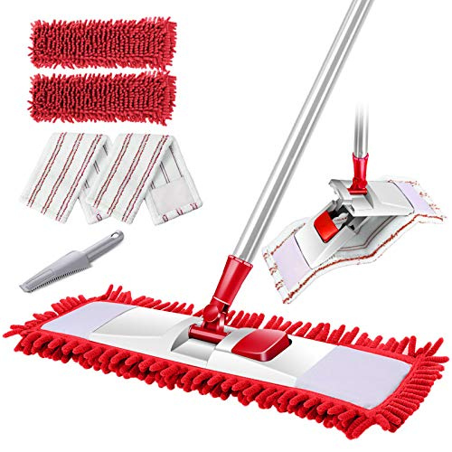 Leadhom Flat Mop,Flat Dust Cleaning Mop with 4 Microfiber Mop Heads for Hosdehold Floor Cleaning-Red+White