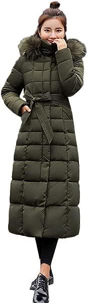 FengGa Women Outerwear Fur Hooded Coat Long Cotton Padded Jackets Pocket Coats