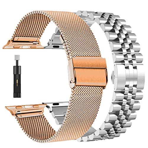 2 unids bandas para Apple Watch SE 6 banda 40mm 44mm serie 5 4 3 38mm 42mm correa para iwatch correa malla bucle acero inoxidable pulsera