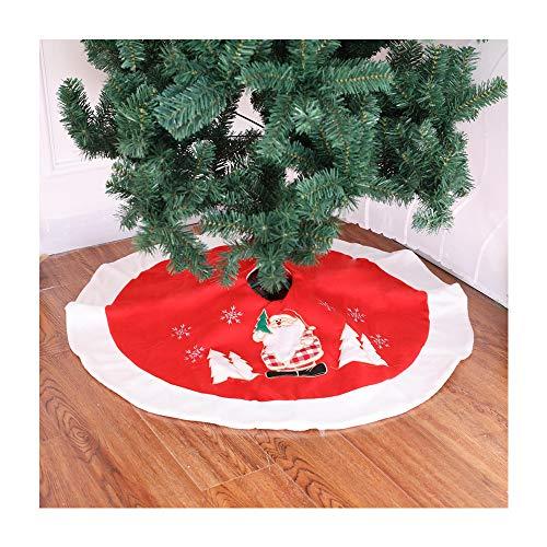 MITOWERMI 35' Elegant Red Christmas Tree Skirt Santa Embroidery with Plush White Border for Christmas Holiday Decoration
