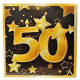 Udo Schmidt GmbH & Co. KG - Tovaglioli di carta per compleanno, 50 anni, colore: Oro/Nero
