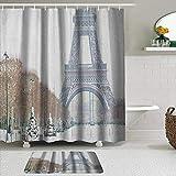 MIFSOIAVV Juego de Cortina de Ducha de 2 Piezas con alfombras Antideslizantes,Torre Eiffel de Invierno en la Nieve al Aire Libre atracción turística Champ de Mars París Francia con 12 Ganchos