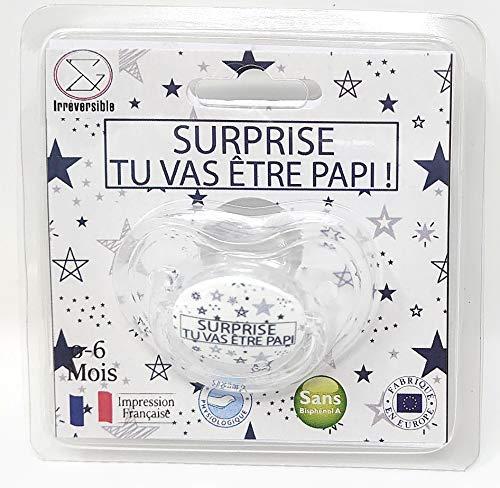 Chupete de bebé para regalar en regalos para anunciar su embarazo de Pap – Idea original para mujer embarazada – Chupete de 0 a 6 meses – Normas francesas y europeas – Regalo para nacimiento