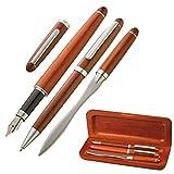 Set de escritura y regalo – bolígrafo, abrecartas y pluma estilográfica, elegante en madera y estuche para tarjetas de visita – 4101