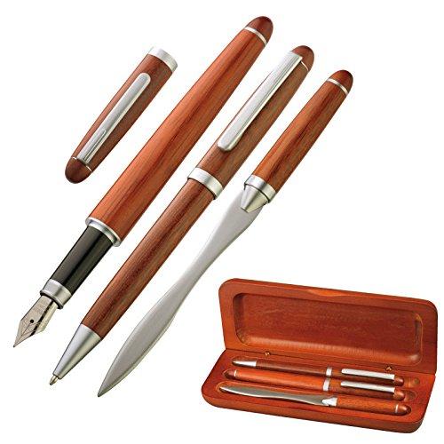 Schreibset & Geschenk - Kugelschreiber, Brieföffner & Schreibfeder / Füller - elegant in Holz & Visitenkartenetui - 4101