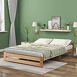QWEPOI Cama de madera maciza, cama futón, madera maciza, natural, con cabecero y somier, color natural (200 x 140 cm), estilo sencillo y elegante