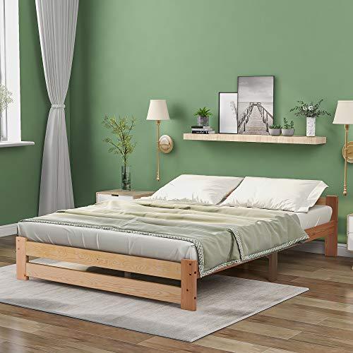 QWEPOI Letto in legno massiccio con testiera e rete a doghe, naturale (200 x 140 cm), stile semplice ed elegante
